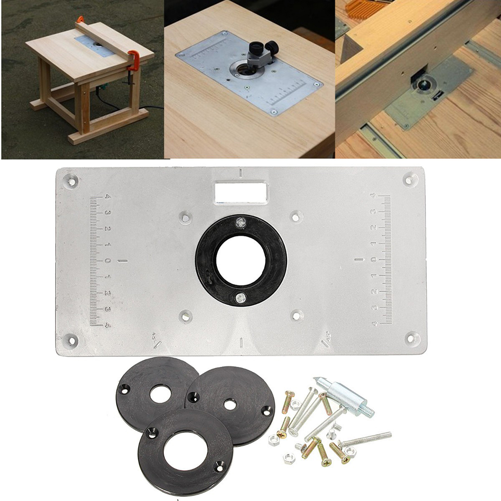 Multifunctional Aluminum Alloy Router Table Insert Plate With 4 Loops Screws For Woodworking Benches