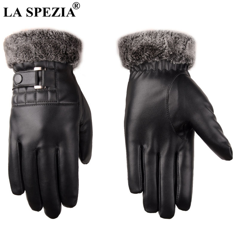 LA SPEZIA Winter Gloves Black Mens Leather Gloves Touch Screen Pu Leather Fur Warm Thick Driving Men's Gloves Autumn Winter