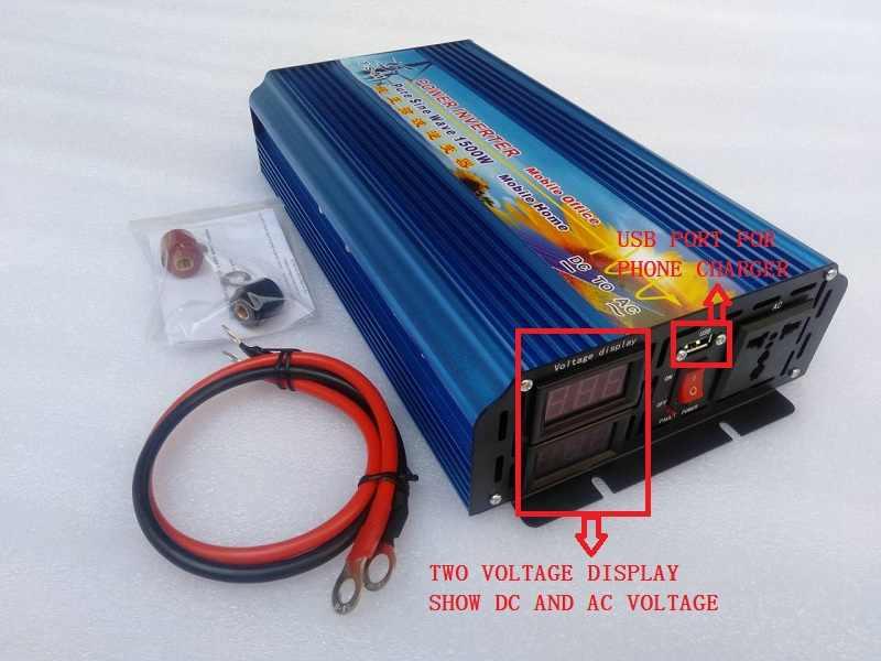 Inversor senoidal pura 1500W 12V 220V 230V 240V 60HZ ile çift dijital ekran ve USB bağlantı noktası