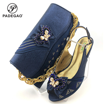 Blue Latest Comfortable Shoes and Bags Set Italian Sets 2020 African Shoes and Matching Bags Women Wedding Shoes