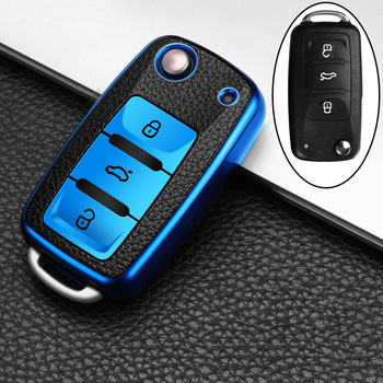 цена на Leather+TPU Car Key Cover Case For Volkswagen VW POLO Tiguan Passat B5 B6 B7 Golf EOS Scirocco Jetta MK6 Octavia Accessories