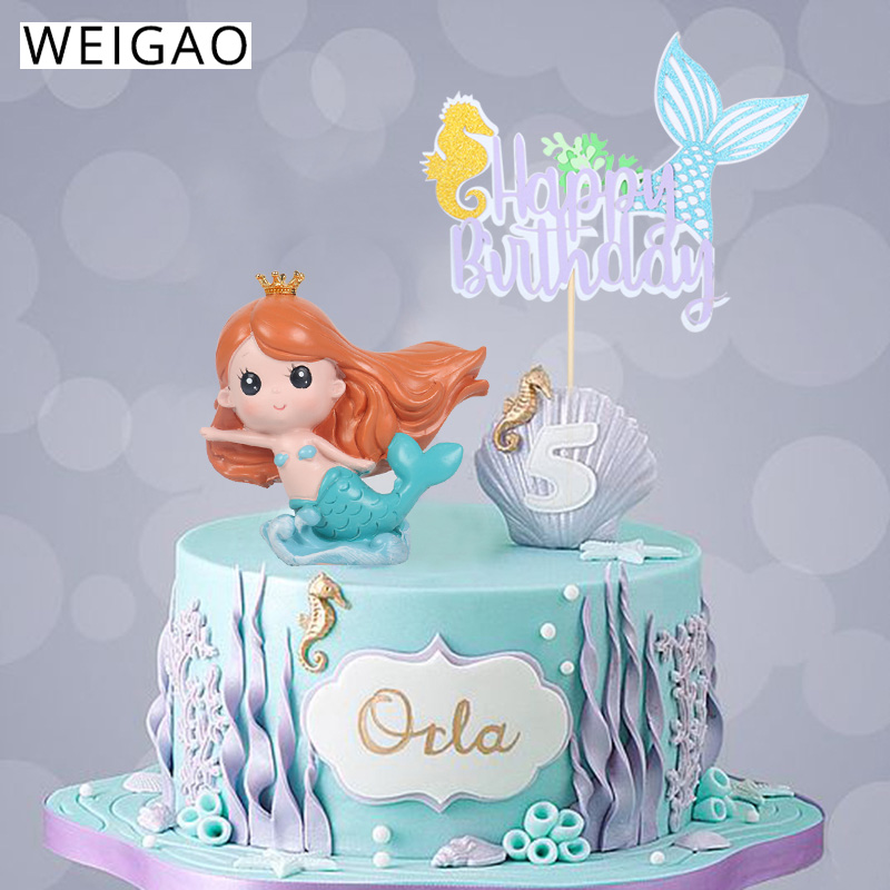 US $11.11 11% OFFWEIGAO Little Mermaid Party Cake Toppers Happy Birthday  Cake Topper Birthday Party Decorations Kids Under The Sea Party  SuppliesCake