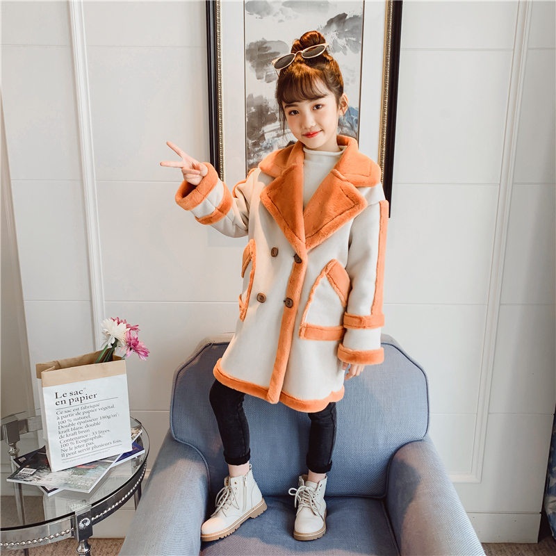 Girls Coat Size 12 Years 2019 Little Girls Wool Coat Jackets Patchworked Fur Turn-down Collar Princess Winter Coat Girls Clothes