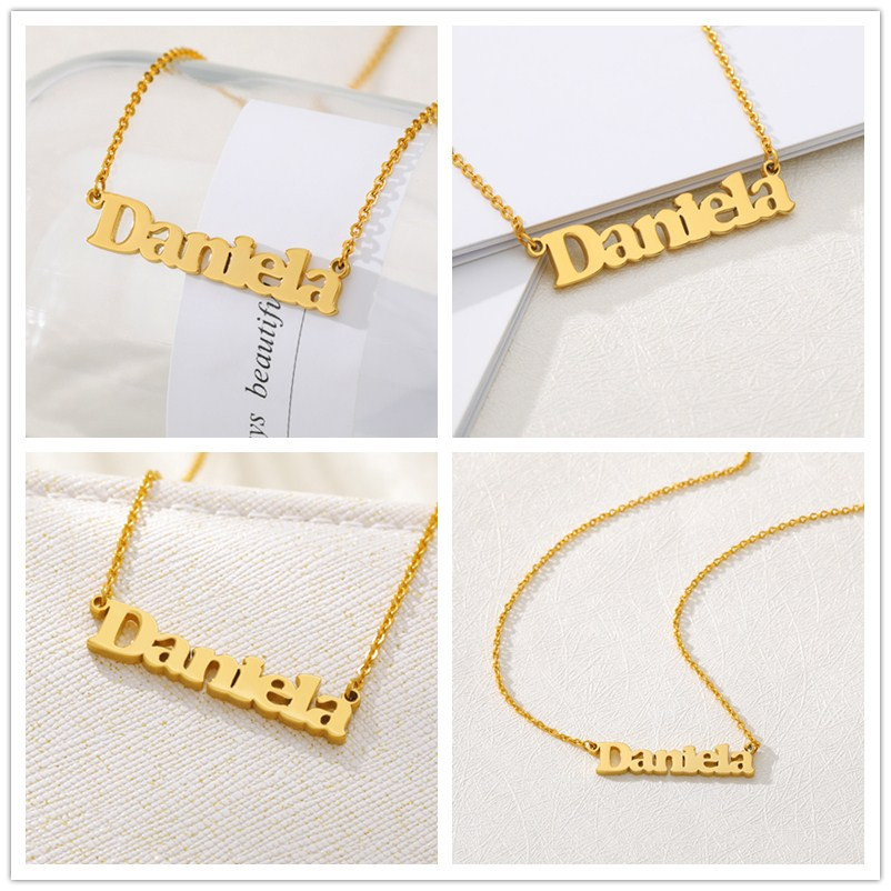 V Attract Fashion Custom Name Necklace Stainless Steel Gold  Personalized Letter Long Necklace Heart Pendants Nameplate Gift