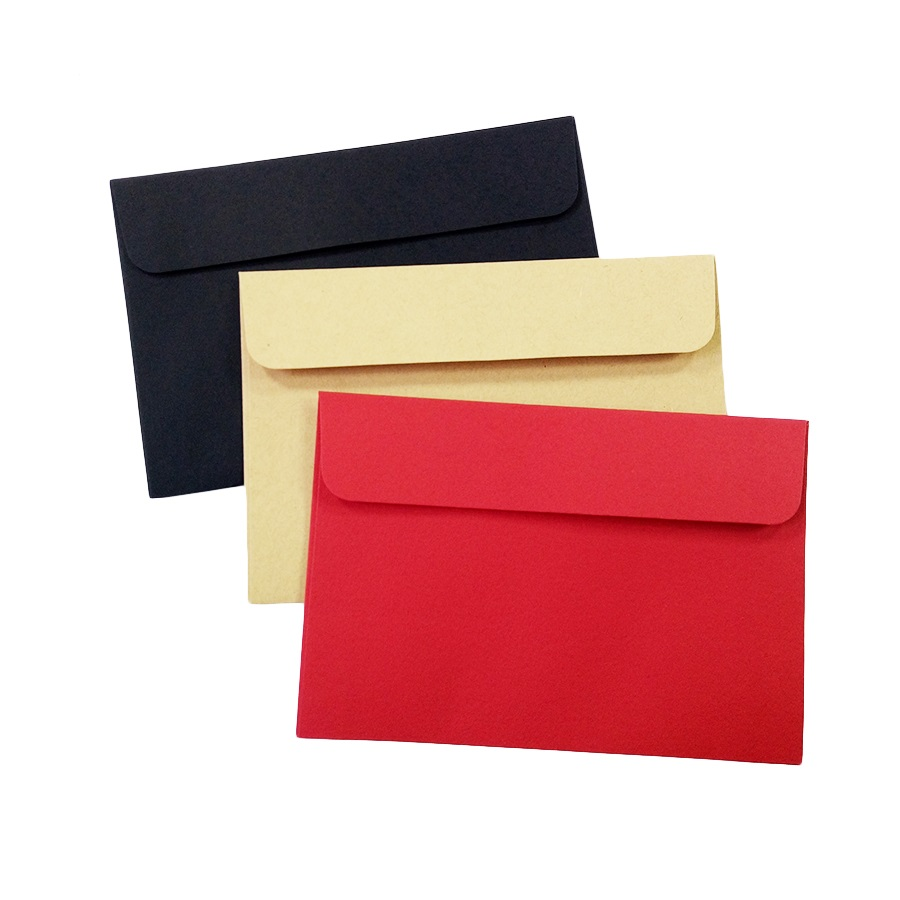 10pcs/Lot Cute Black Red Kraft Paper Envelope Wedding Gift Envelopes School And Office Supplier Stationery