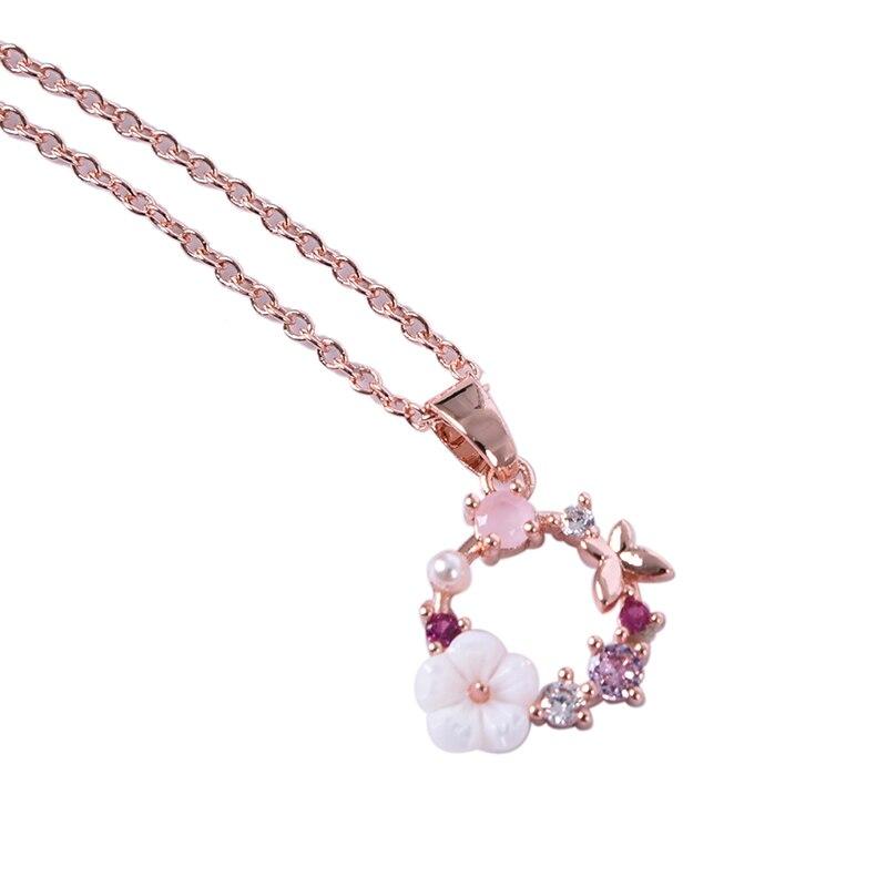 Цепочка с подвеской в виде бабочки женская, креативное ожерелье с декором под ракушки из циркония, цепочка с кулоном, бижутерия, аксессуары, ...