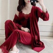 Suit Lounge Nightwear Robe Sleepwear Gown Winter Pajamas Flower Velour Velvet Home-Clothing