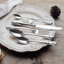 1pcs Luxury Silver Dinner set Retro Wedding Dinnerware Stainless steel Silverware Table Knife Fork and Spoon Dessert Cutlery