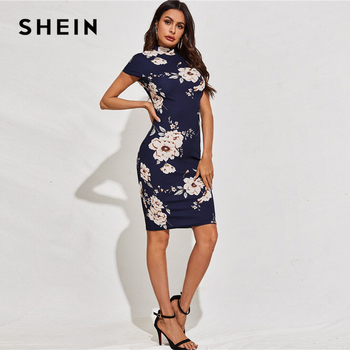 SHEIN Black Mock-Neck Floral Print Bodycon Dress Women 2020 Spring Stand Collar Short Sleeve Elegant Fitted Midi Dresses 3