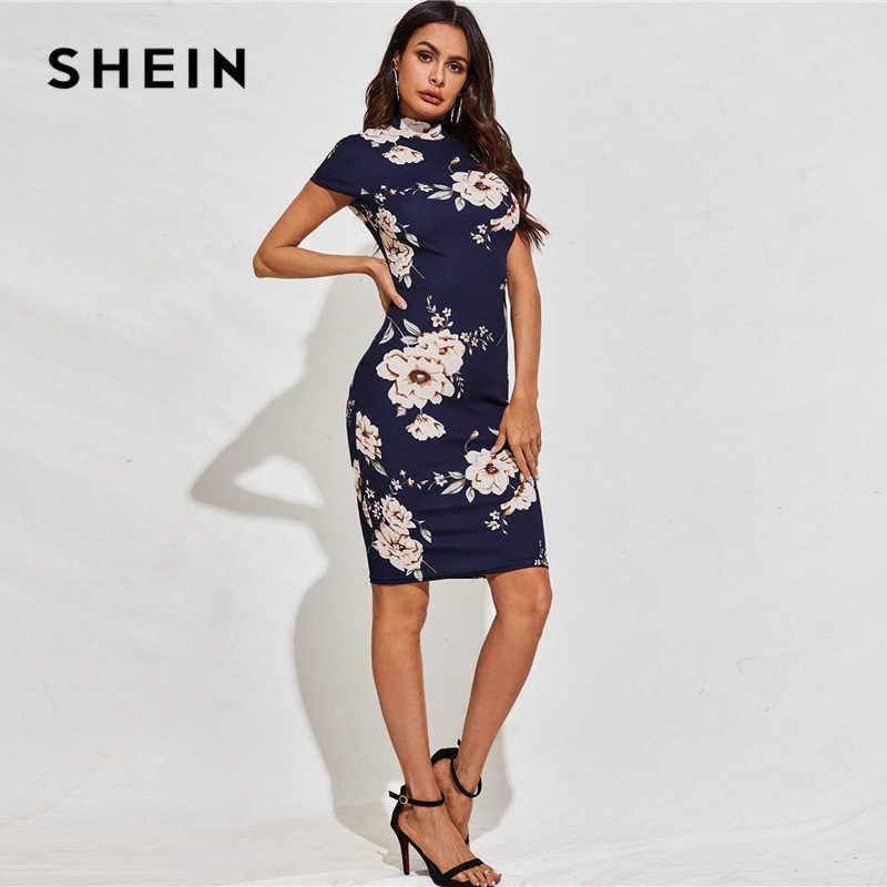 SHEIN Schwarz Mock-Neck Floral Print Bodycon Kleid Frauen 2020 Frühling Stehen Kragen Kurzarm Elegante Ausgestattet Midi Kleider