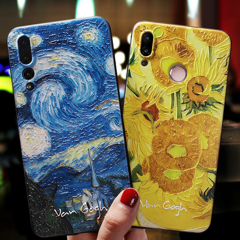 Art Case For Huawei P20 P30 P40 P10 Lite Pro Case Cover For Huawei P Smart 2019 Nova 5T Honor 8X 9 10 Lite 20 Pro 10i Case Black(China)