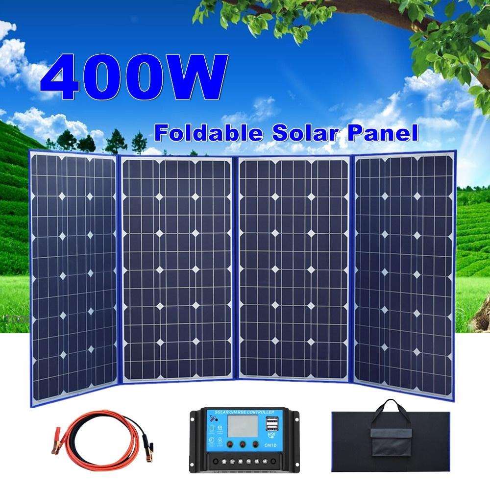 [4x100w] 400W 18V Flexible Solar Panel Cell Module Kit <font><b>USB</b></font> Port contoller for 12V Car Battery <font><b>Charger</b></font> RV Boat Roof Motorhome image