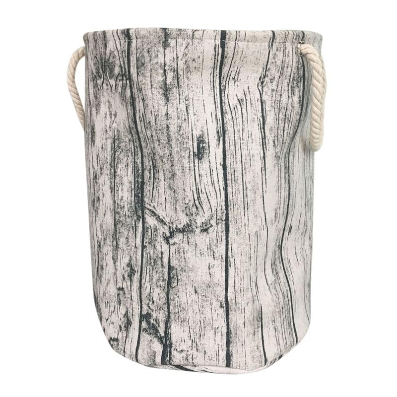 Stylish Tree Stump Shape Design Storage Basket Cotton Fabric Washable Cylindric Laundry Hamper With Rope Handles, Decorative And