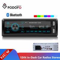 Podofo autoradio 12V Auto Radio Bluetooth 1 din Car stereo In-Dash Lettore MP3 Telefono AUX-IN FM/ USB/radio remote control Car Audio