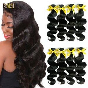 BAISI Body Wave Brazilian Hair Weave Bundles 100% Human Hair Bundles 3 4 PCS 20 22 24 Inches Non-Remy Weaves Hair Extension(China)