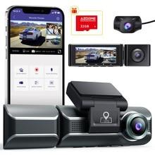 AZDOME 3 канальный видеорегистратор, передняя внутренняя задняя трехполосная автомобильная камера, 4K + 1080P двухканальный, с GPS, WiFi, ИК Ночное Вид...