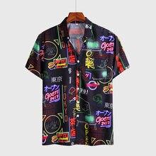 Casual estilo japonês impressão 3d camisas de manga curta para homem rua 2020 hawaii praia camisas hip hop moda harujuku camisa masculina