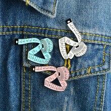 Lapel pin coat cap 2019 new creative tape measure enamel button clever stitch lapel brooch