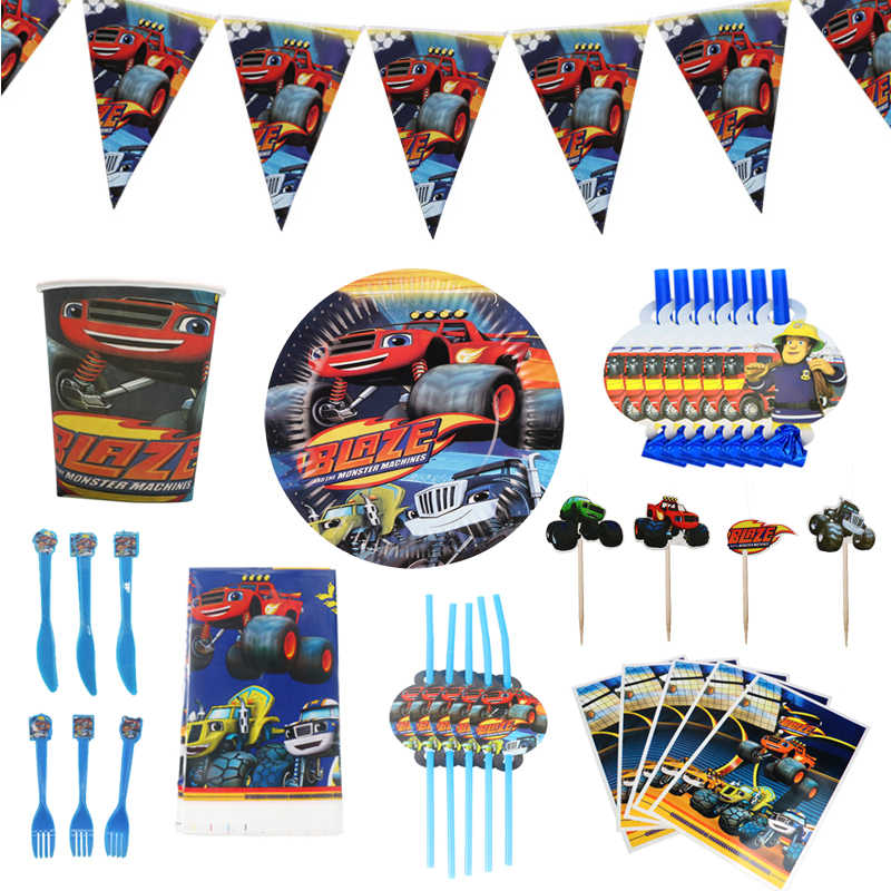 Blaze En De Monster Machines Auto Thema Party Servies Papier Cup Plaat Banner Gift Bag Kids Verjaardagsfeestje Decoratie Ballon