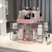 Double Door Cosmetic Organizer Dustproof Desktop Lipstick Rack Transparent Makeu
