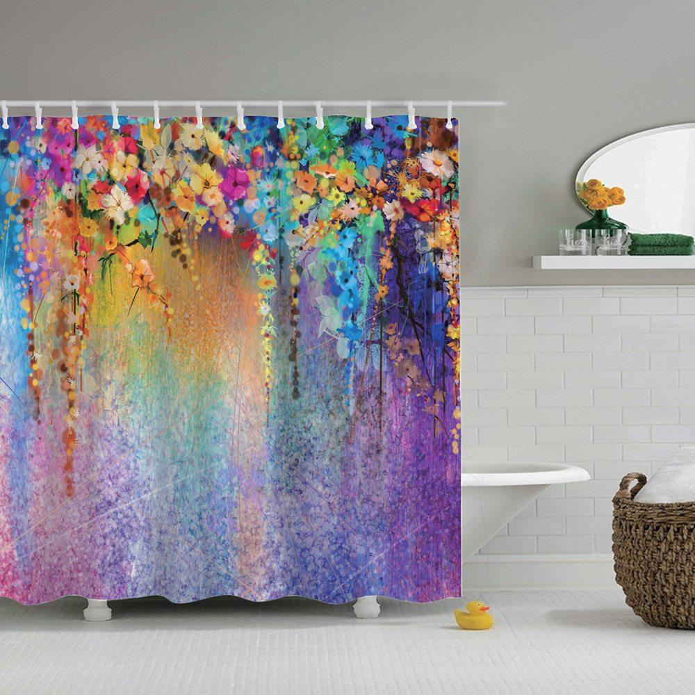 Retro Golden Mermaid Design Bathroom Waterproof Fabric Custom Shower Curtain