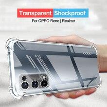 Transparent Case For OPPO RENO 5 4 Pro Plus 5Z 5G A15 A93 A55 A74 A54 Shockproof Cover Realme V13 V15 8 C21 C20 C11 6 Pro X50 GT