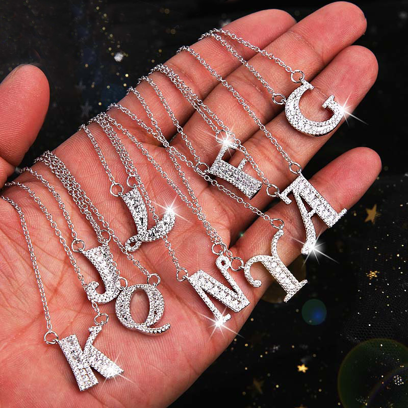 Fashion Initial Letter Pendant Necklaces Charm Rhinestone Best Friend Gift Cute 26 Alphabet Chain Necklace Collar Name Jewelry in Pendant Necklaces from Jewelry Accessories