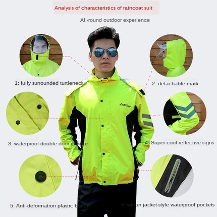 Adult Split Battery Motorcycle Raincoat Riding Waterproof Men and Women Rain Coat Pants Set Double Layer Jackets for Women Gift 2