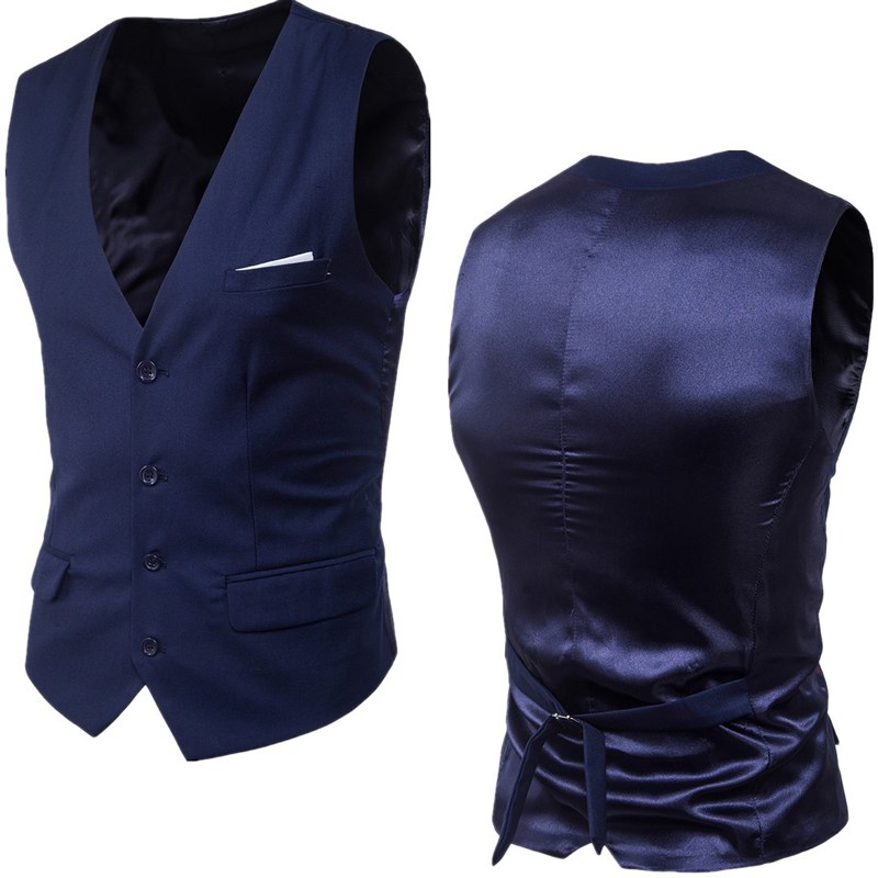 Men's Navy Blue Dress Suit Vest Waistcoat 2020 New Slim Fit V Neck Tuxedo Vest Men Formal Business Smart Casual Gilet Homme 6XL