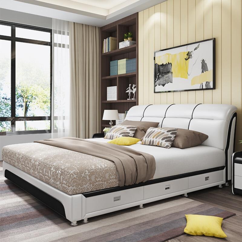 Lit double en cuir 1.8m moderne simple petite famille type 1.5 tatami mat chambre principale pneumatique tiroir de rangement en cuir lit