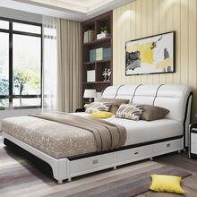 Кожаная двуспальная кровать 1,8 м Современный простой маленький семейный тип 1,5 татами коврик для основной спальни пневматический ящик для х...