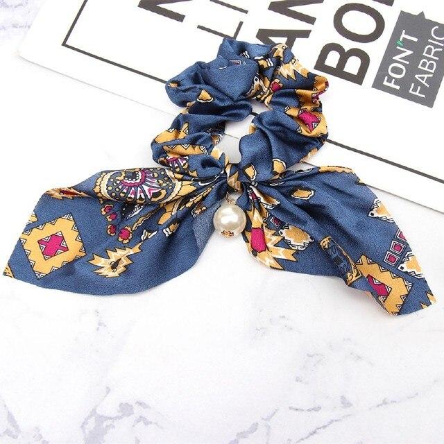 Chiffon Bowknot Hair Scrunchies Fashion Women Rabbit Ears Pearl Ponytail Holder Tie Elastic Hair Rubber Bands Hair Accessories