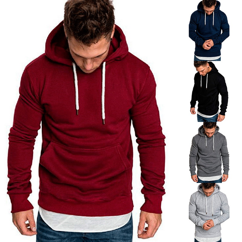 Sweatshirt Hoodie Men 2020 Spring Casual Hoodies Male Long Sleeve Solid Mens Sweatshirt Black Red Big Size 3XL Moleton Masculino