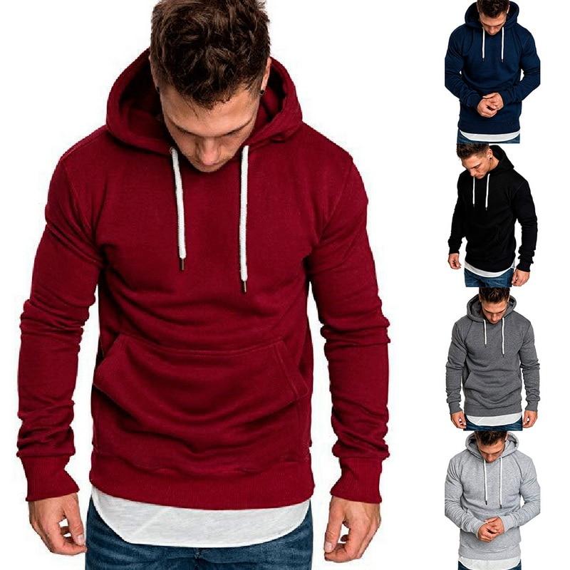 Sweatshirt Men 2019 Autumn Spring Casual Hoodies Male Long Sleeve Solid Hoodie  Mens Sweatshirt Black Red Big Size 3XL