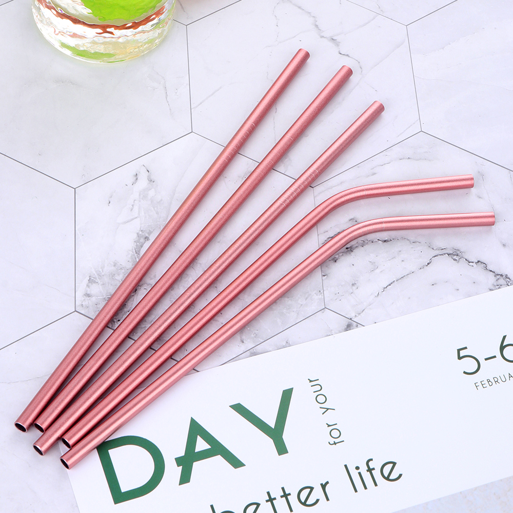 100Pcs Pink Drinking Straw Reusable Diameter 6mm  Juice Straws Cleaner Brush Set Eco Friendly Metal Straw-in Drinking Straws from Home & Garden    1