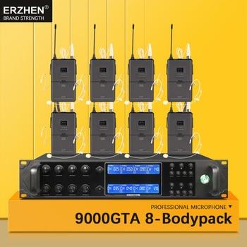 Professionale auricolare senza fili microfono sistema per la chiesa UHF8 canale handheld risvolto condensatore karaoke microfono studio900GT8