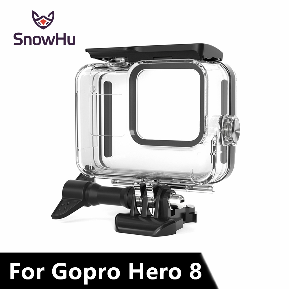 SnowHu 60m Underwater Waterproof Case For GoPro Hero 8 Protective Shell Cover Housing Black Camera 60M Diving Swimming GP801