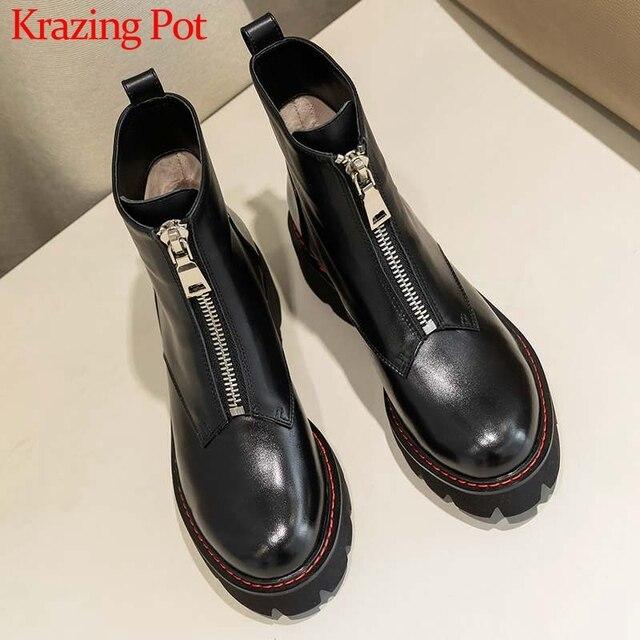 Cracando botas de couro genuíno, botas de couro para motocicleta, dedo do pé redondo, cores preta, inverno l28
