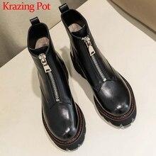 Krazing Pot botas para motocicletas de cuero genuino punta redonda tacones medios colores negros invierno, mujer, botines de fondo grueso rock L28