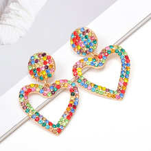 Wholesale ZA Heart-Shaped Dangling Drop Earrings Studded With Colorful Crystals High-Quality Pendientes Jewelry Accessories For Women Christmas Gift
