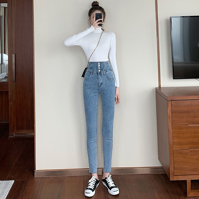 2019 Autumn & Winter New Style High-waisted Tight Pencil Jeans + Knitted Jacket Two-Piece Set-Style Set WOMEN'S Dress