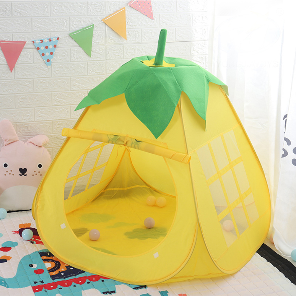Children Cute Pear Tent Portable Kids Game House Indoor Castle Foldable Tent Ocean Ball Pool Indoor Amusement Park