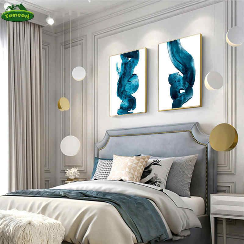 مجردة المائية الأزرق الطلاء صورة مطبوعة على القماش لوحات حائط الفن الملصقات والمطبوعات الصور الزخرفية لغرفة المعيشة ديكور