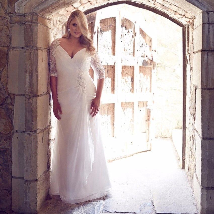 2018 Vestido De Noiva Deep V-neck Half Sleeve Chiffon Floor-length Bridal Gown Abendkleider Long Mother Of The Bride Dresses