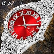 Gold Watch Diamond Top Luxury Quartz Stainless-Steel Analog Red Link Best Big Men 18K