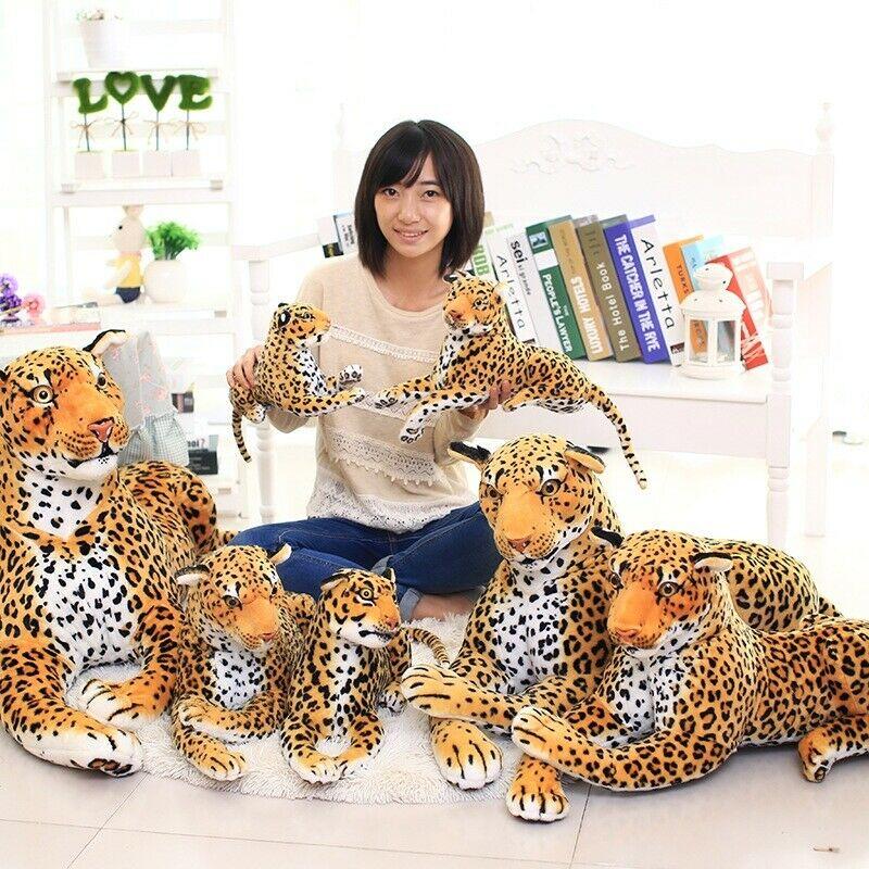 Simulation Leopard Plush Toy Jaguar Soft Stuffed Animals Doll Leopard Kids Gift PP Cotton Birthday Show Promotion Gift