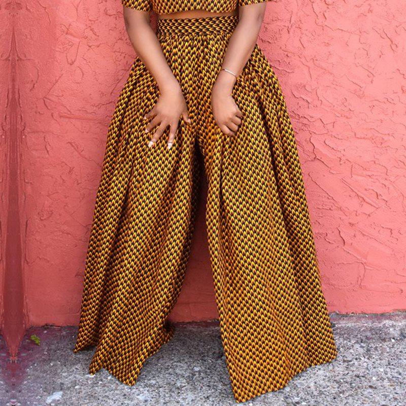 African Fashion Ethnic Print Casual   Wide     Leg     Pants   Plus Size Women Boho Elastic High Waist Oversize Trousers Ladies Fall 2019
