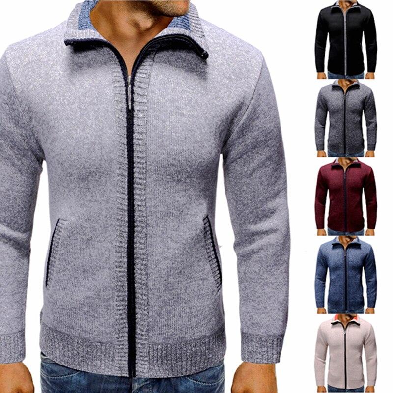 OEAK Men's Autumn Winter Thick Sweater Long Sleeve Top Mens Jacket Turndown Collar Cardigan Warm Plus Velvet Sweater Coat