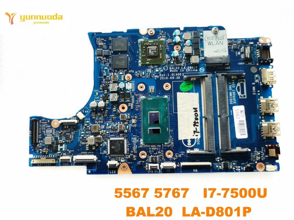 Original For DELL  5567 Laptop  Motherboard 5567 5767   I7-7500U  BAL20  LA-D801P Tested Good Free Shipping