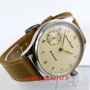 Beige dial golden plated marks 6497 hand winding  44mm parnis leather strap mens watch